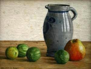 Hoofdfoto Stilleven met 4 limoenen en 1 appel
