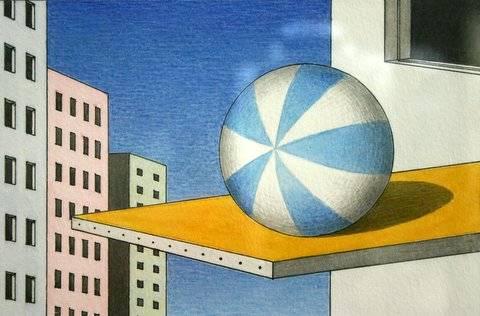 Hoofdfoto Strandbal op springplank