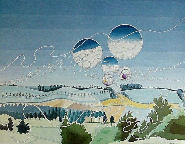 Hoofdfoto Heuvellandschap met luchtbellen