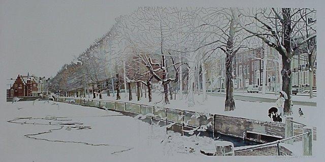 Hoofdfoto Den Haag, bevroren hofvijver met meeuwen