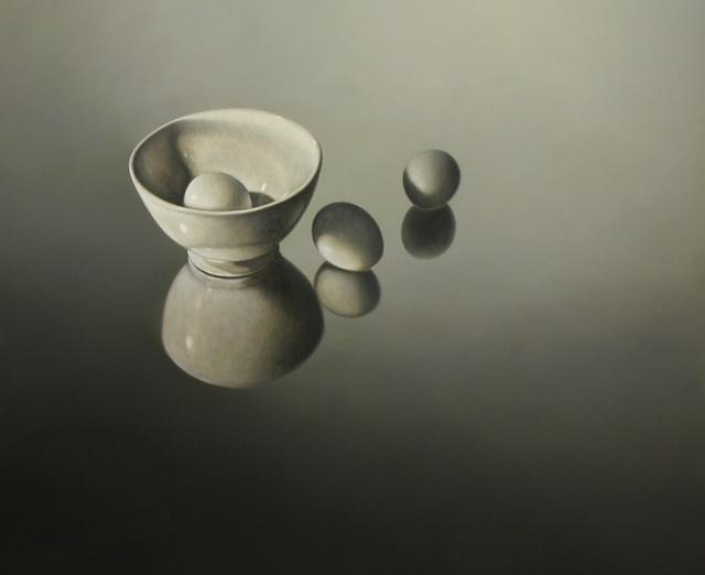 Hoofdfoto Wit schaaltje met drie eieren gespiegeld