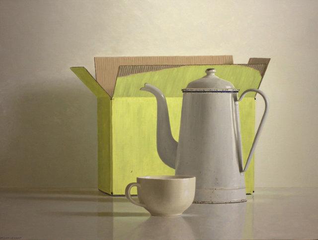 Hoofdfoto Gele doos, koffiekan en kop