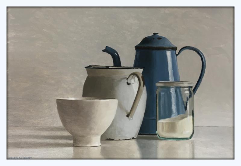 Hoofdfoto Stilleven met blauwe koffiekan