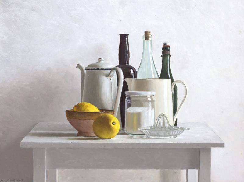 Hoofdfoto Tafel, 2 citroenen en citruspers