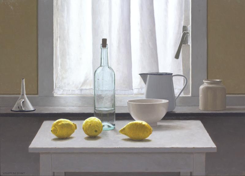 Hoofdfoto Stilleven in tegenlicht met 3 citroenen