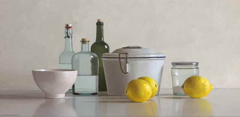 Hoofdfoto 3 citroenen, bakvorm, kom, potje en 3 flessen