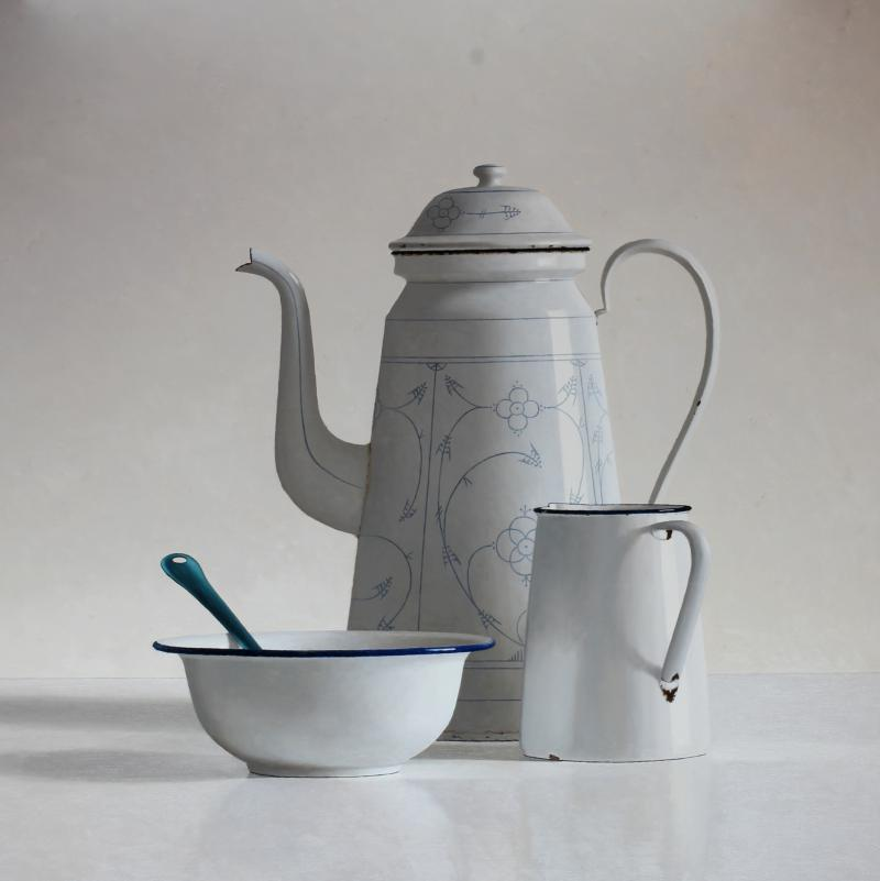 Hoofdfoto Koffiepot, kan, kom en lepel