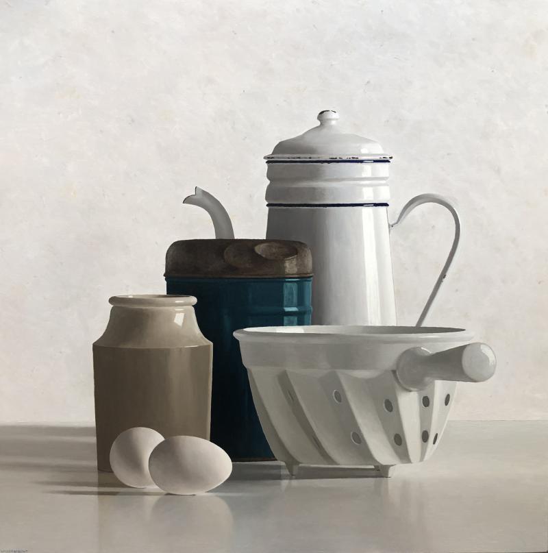 Hoofdfoto Koffiekan, bus, potje, vergiet en 2 eieren