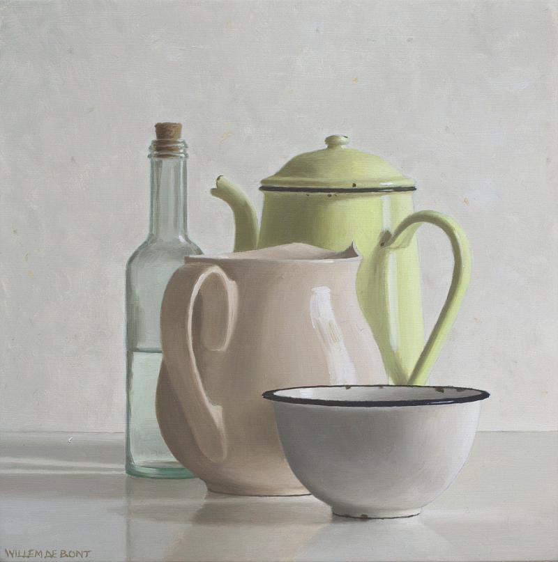 Hoofdfoto Gele koffiekan, melkkan, kom en fles