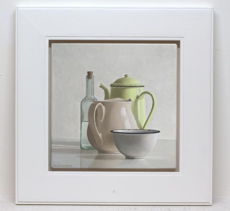 Foto 2 van Gele koffiekan, melkkan, kom en fles