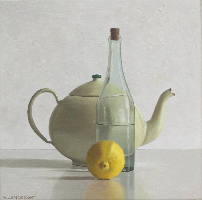 Hoofdfoto Theepot, fles en citroen